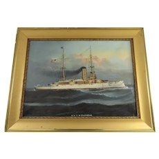 Nautical Ship Painting of the USS Wisconsin