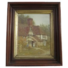 Walnut Frame With Gilt Slip with Charming Farmhouse Print by Helen Allingham