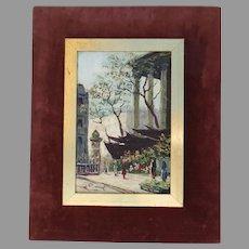 Painting of Paris Street Scene by H. Pierrel Mid Century Velvet Gilt Frame