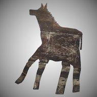 Vintage Large Sheet Tin Metal Folk Art Horse Sign Country