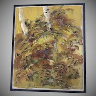 "1970's Watercolor on Linen ""Ferns"" Signed Dated"