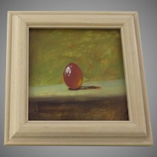 Small Painting of Orange Egg by J. Woods