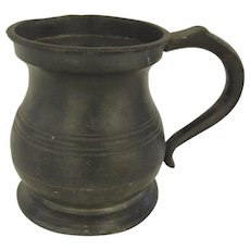 James Yates 1/2 Pint Pewter Tankard Mug 19th Century