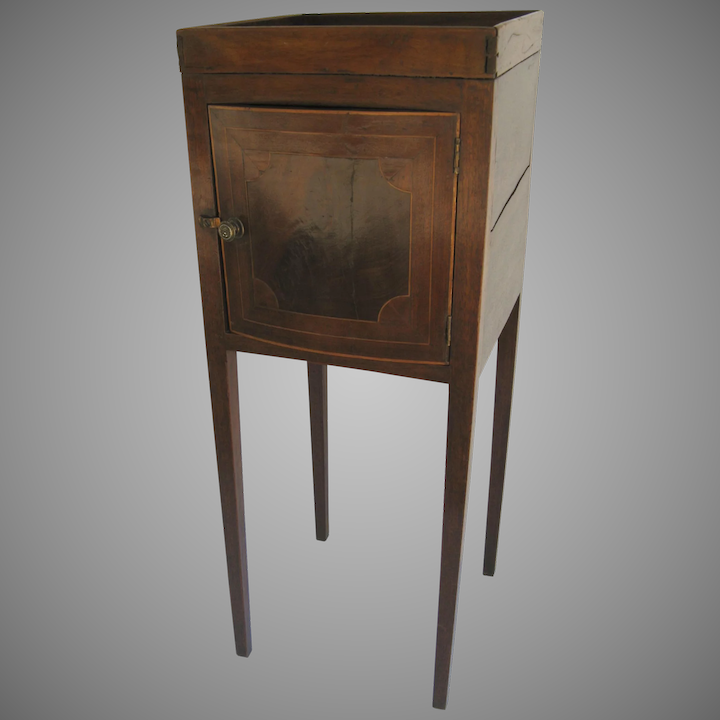 English One Door Small Gallery Top Commode Side Table Cupboard Inlaid