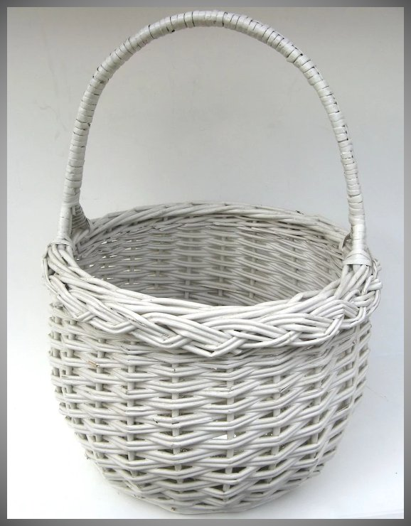 Charming white painted vintage wicker basket black tulip antiques charming white painted vintage wicker basket mightylinksfo