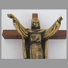 Vintage Cross with Bronze Jesus