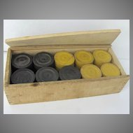 Vintage Wooden Checkers Black Yellow in Box Complete