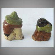 Vintage Mexican Pottery Glazed Salt & Pepper