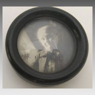 Small Round Ebonized Wood Picture Frame