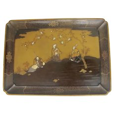 Japanese Lacquer Large Tray Meiji 19th Century