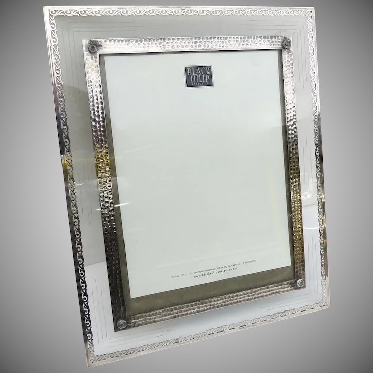 Large Stunning Silver Overlay and Cut Glass Picture Frame : Black ...
