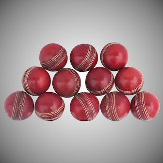 Vintage Red Cricket Ball with Stitching
