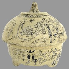 Latin American Paper Maché Lidded Bowl