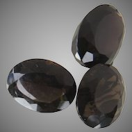 Three Large Oval Cut Smokey Quartz Large Stones