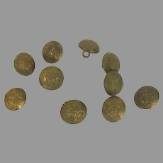Vintage Smith & Wright Brass Buttons Crest Set of 10