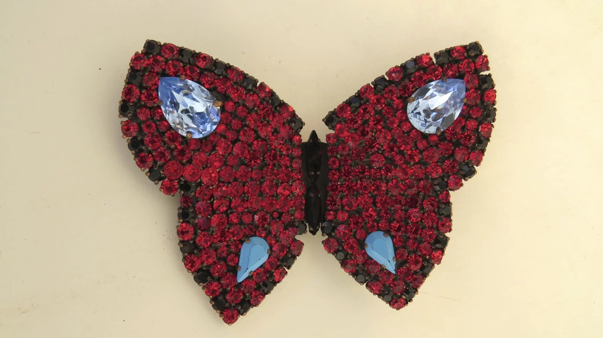 6a8916b70d8 Vintage YSL Yves Saint Laurent Rhinestone Large Butterfly Brooch Pin Signed  Designer. Click to expand
