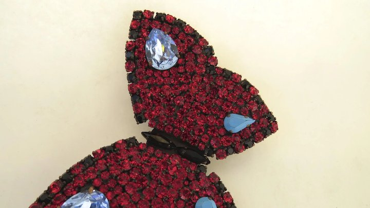 9d721c42a13 Vintage YSL Yves Saint Laurent Rhinestone Large Butterfly Brooch Pin Signed  Designer