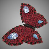 Vintage YSL Yves Saint Laurent Rhinestone Large Butterfly Brooch Pin Signed Designer
