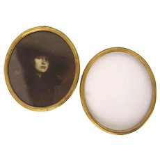 Pair of Delicate Gilt Wood Oval Picture Frames Circa 1920