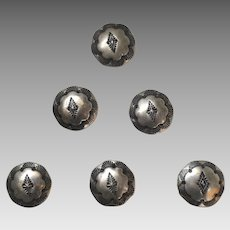 Native American Sterling Silver Button Covers Set of 6