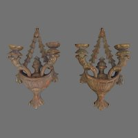Pair of Late 19th Century Carved Gilt Two Arm Wall Sconces
