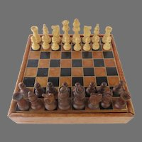 Vintage Leather Gold Tooled Chess Checker Game Board with Drawer Henri Cravet Pieces