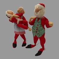 """Santa Mr. Claus and Youngster Elf 29"""" Tall Vintage Annalee 3 Three Figures"""