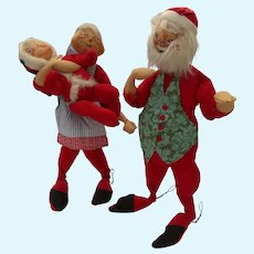 "Santa Mr. Claus and Youngster Elf 29"" Tall Vintage Annalee 3 Three Figures"
