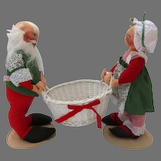 "Santa Mr.  & Mrs. Claus Vintage Annalee Figures Centerpiece  with Basket 18"" tall"
