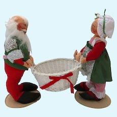 "Santa Mr.  & Mrs. Claus Vintage Annalee Figures Centerpiece  with Basket 18"" tall"