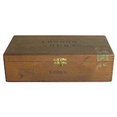 Vintage Wood Cigar Box Kings London Court Boite Nature