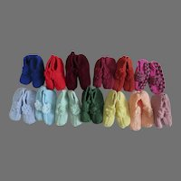 Group of 13 Hand Made Hand Knit Pompom Slippers