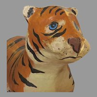 Mid Century Mexican Papier Mache Tiger Rocking Toy