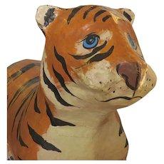 Mid Century Mexican Papier Mache Tiger Rocking Toy
