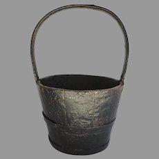 Chinese Wooden Bucket with Bentwood Handle.