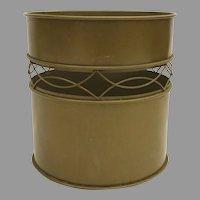 Mid Century Gold Bronze Waste Basket Wire Lattice