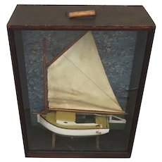 """1900's Large Sailboat Model Display Case Folk Art Hand Crafted Cat Boat """"Sweet Maria"""""""