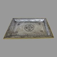 Vintage Mexican Tin and Brass Repousse Tray