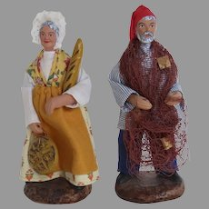 Pair French Provincial Husband Wife Santons Traditional Dress