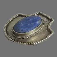 Vintage Pendant Blue Stone Tibetian Beaded Edge