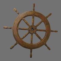 "Vintage Ship's Wheel Old Paint 39"" Nautical Ship"