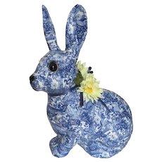 Large Vintage Blue and White Decoupage Bunny Rabbit Bank Figure