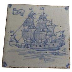 Vintage Blue and White Tile Trivet Sailing Ship