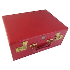 Vintage Shortrip Red Leather Case Carry On Travel Vanity