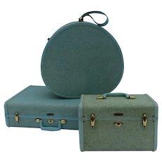 Vintage Group of Three Samsonite Tweed Luggage Blue Robin's Egg Travel Case, Round Hat Box, Suitcase Shwayder Bros.