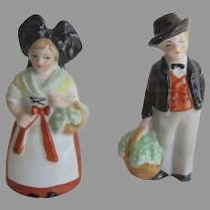 Vintage French Traditional Costumes Figurines Alsace Alsatian Husband Wife Regional Dress Baskets Dollhouse