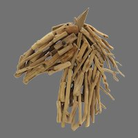 Hand Made Horse Head Made from Wood Branches