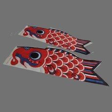 Vintage Made in Japan KOINOBORI Japanese Fish CARP Wind Sock Streamer