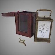 19th Century French Carriage Clock Retailed by Bigelow, Kennard & Co., Boston. and Traveling Case