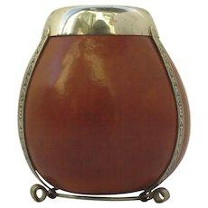Vintage Mate Tea Bombilla Gourd Cup Bowl Argentina Alpaca  Mounts